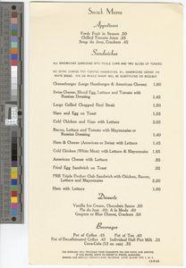 Snack menu, 1963