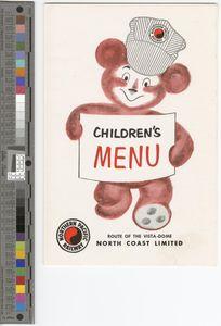 Children's menu, 1962