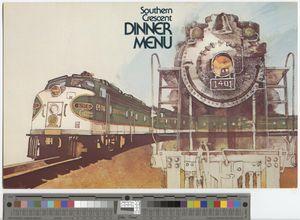 Dinner menu, 1974