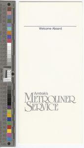 Menu, Amtrak's Metroliner Service, 1982